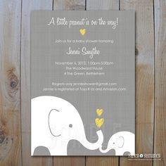 Elephant Baby Shower Invitation / Little Peanut Elephant and Momma / Gender Neutral Design / Printable  Baby Shower Invitations / Item 10285...