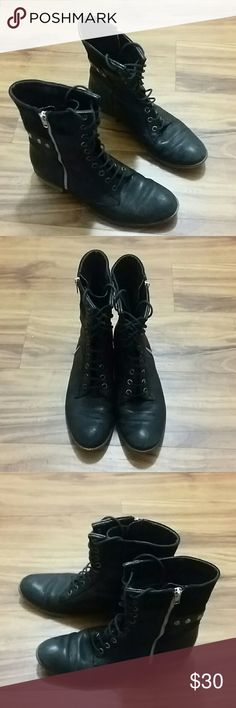 *SALE*Black Boutique 9 boots Awesome lace up and side zip boots by Boutique 9.  These are so versatile and cute. Feminine with spunk. Very good pre loved condition. No flaws. Boutique 9 Shoes Combat & Moto Boots