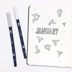 Bullet journal monthly cover page, paper crane drawing, origami drawings. | @amizaomar