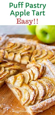 Incredibly easy to make, this Puff Pastry Apple Tart uses store bought frozen puff pastry and fresh, tart apples. This Puff pastry Apple Tart recipe is a great choice for those times when you want an easy dessert that looks impressive!! #marcellinaincucina #puffpastryappletart #dessert #apple #recipe Apple Tart Recipe, Apple Pie Recipes, New Recipes, Snacks Recipes, Healthy Snacks, All Butter Pie Crust, Puff Pastries, Frozen Puff Pastry, Sweet Bakery