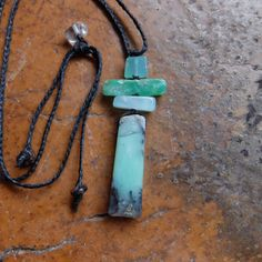 Unique large Chrysoprase necklace on braided cord adjustable length. Natural healing jewelry  - one of a kind, handmade in Australia by NaturesArtMelbourne on Etsy