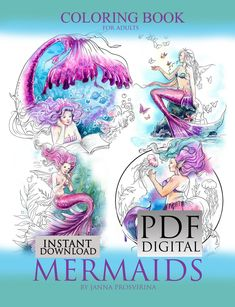 Coloring Book,  PDF, Printable, Instant Download, Digi, Coloring page, Mermaids, Line Art Coloring, Art of Janna Prosvirina Coloring Pages, Coloring Books, Mermaid Art, Mermaid Book, Mermaid Coloring Book, Editing Skills, To Color, Digital Stamps, Printable Coloring