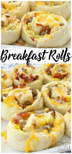 Breakfast Rolls - Breakfast Rolls filled with scrambled eggs, bacon, sausage & cheese then rolled in homemade dough and baked to perfection.
