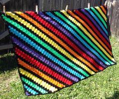 C2C - Corner 2 Corner Crochet three rows color, two black, repeat