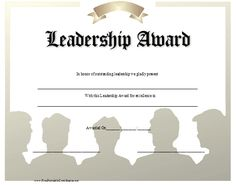 A leadership award with a blue script title and a feather pen leadership award certificate printable certificate yadclub Choice Image
