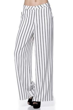 COMME STRIPE WIDE LEG LONG PANTS WITH POCKETS
