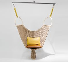 'Swing Chair' designed by Patricia Urquiola for the Louis Vuitton Objet Nomades collection. Complete with leather cushions and gold plate hooks, this mesh swing was inspired by a handbag. Photo courtesy of Louis Vuitton Patricia Urquiola, Hammock Chair, Swinging Chair, Chair Swing, Swing Seat, Hammock Swing, Louis Vuitton, Chair Design, Furniture Design