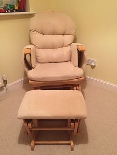... Glider Nursing Chair With Footstool. Chair works perfectly and in great condition with slight fabric stain on foot stool that can be seen in photo. & Serenity Natural Glider Nursing maternity gliding rocking chair with ...
