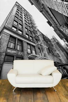 Buildings of NYC Wall Mural Glass Wall Art, Stained Glass Art, Custom Wall Murals, Unique Wallpaper, Wallpaper Ideas, Photo Mural, My Art Studio, Rustic Walls, Wall Treatments