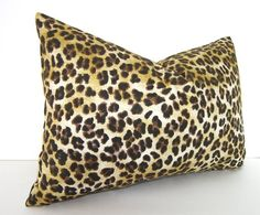 Both Sides - Lumbar - Decorative Designer Pillow Cover - Cheetah - Leopard Print - - inches - Brown - Gold - Yellow Pillow Cover Design, Pillow Covers, Pillow Fabric, Designer Pillow, Fabric Samples, Cheetah, Cotton Canvas, Fabric Design, Decorative Pillows