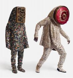 Nick Cave,  Sound Suits.    Nick Cave creates these wearable art objects that make a sound when they move, so they are interactional works. They don't adhere to any form, and Cave says that the wearer can defy being stereotyped, because these suits are all unique and cannot be put in a category - something that Cave says is fundamental to our needs as people - to be recognised  and loved as individuals, and not to fall victim to preconceived notions others may have of us.