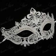 Luxury Snow White Venetian Laser Cut Masquerade Mask by 4everstore