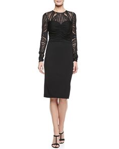 Deco Lace Jersey Dress by David Meister - Love the pattern, different from the usual lace detail.