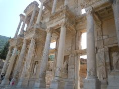 """The ancient ruins of the library in Ephesus, """"Efes"""" in modern Turkey."""