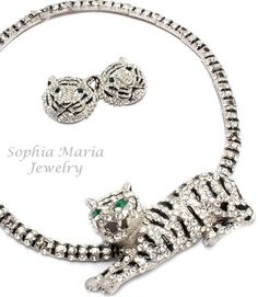 Unique stunning evening tiger crystal necklace set 3D animal black clear choker  Offered by #sophiamariajewelry on Bonanza