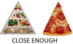 A pizza is not a vegetable. Rather, it resembles the entire food pyramid. Chow on, friends!