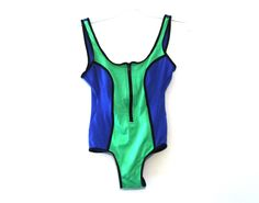 Vintage 80s swimsuit neon zippered swim suit bodysuit 90s by 216vintageModern on Etsy