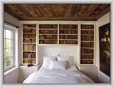 Diy Bookcase Headboard guest-bedroom-headboard-and-bookshelves - great idea to