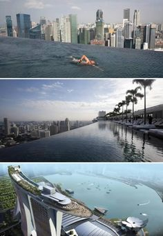 Marina Bay Hotel in Singapore- rooftop infinity pool overlooking skyline...need I say more