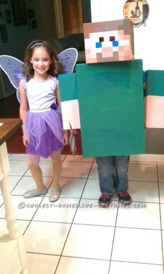 I made this Minecraft costume because my 8 year old said he was too old to trick or treat, that is until mom came up with the PERFECT costume idea. Minecraft Costumes, Minecraft Party, Boy Costumes, Costume Ideas, Crafts For Kids, Diy Crafts, Homemade Costumes, Fall Halloween, Trick Or Treat