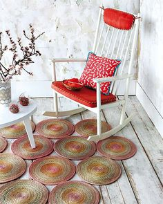 The next time you pass by and see woven placemats, give some thought as to how these can be used to make a rug for a room in your home - or ...