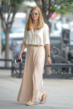 7b78bd10cd4 skirt blouse maxi skirt olivia palermo flats ballet flats shoes sunglasses  Long Skirt Outfits