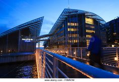 Tjuvholmen district and Astrup Fearnley Museum by Renzo Piano. Oslo. Norway. - Stock Image