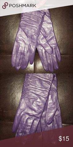 Purple leather gloves Gorgeous purple leather gloves. Brand new with tag. Accessories Gloves & Mittens