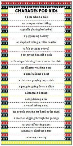 Kids Charades Ideas - Free Printable Game For Family Fun Charades is such a fun & interactive game for all ages. These free printable kids charades ideas all have silly animal & action combinations. Drama Activities, Dance Activities For Kids, Drama Games For Kids, Summer Activities, Dancing Games For Kids, Family Activities, Drama Classes For Kids, Action Games For Kids, Language Games For Kids