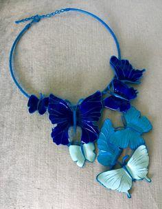 Superb MASSIVE BUTTERFLIES CLUSTER Turquoise Blue Enameled Metal Huge Dangle Pendant Bib Collar Necklace Vintage Rare Couture Runway Chic