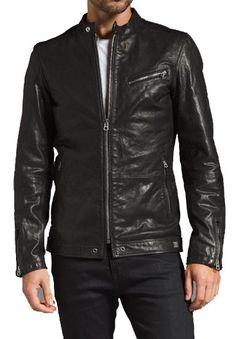 MEN SLIM FIT LEATHER JACKET, BLACK BIKER LEATHER JACKETS, MEN'S JACKETS