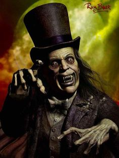 """Portrait by Rick Baker of Lon Chaney Sr as The Man in the Beaver Hat in """"London After Midnight"""" (1927)"""
