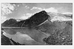 The lake dammed by Allalingletscher and its lateral moraine in 1915 which repeatedly caused catastrophic glacier outburst in the Saas valley. From Zryd, A. (2001) Les Glaciers, Editions Pillet, S. 205.