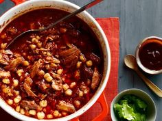 Posole Rojo good basic recipe....note: use dried hominy and simmer it with pork.....