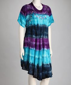Take a look at this Turquoise & Purple Tie-Dye Stripe Dress by Be Bold: Colorful Dresses & Skirts on #zulily today!