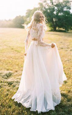 Two Piece Wedding Dress at $123.41 at June Bridals! We offer off the shoulder wedding dresses, long sleeve wedding dresses, lace wedding dresses and many other affordable wedding dresses, shop before the sale ends! #junebridals