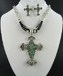 Silver and Turquoise Cross Necklace and Earring Set