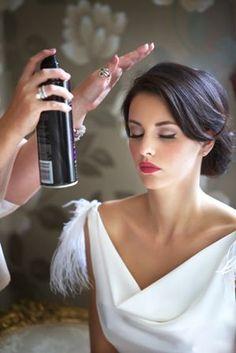 Vintage-inspired wedding hair and makeup