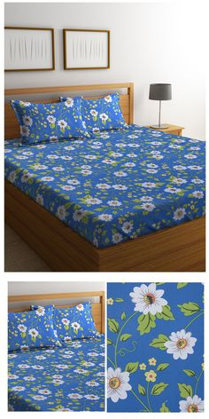 Mafatlal Blue Cotton 110 TC Double Bed Sheet with 2 Pillow Covers #bedsheets #homefurnishing #homedecor #bedlinen #pillowcovers #mafatlal #cottonbedsheets #onlineshopping #DoubleBedSheets