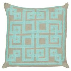 Linen pillow with a Greek key-inspired cotton applique and down fill.   Product: PillowConstruction Material: Linen and cotton coverColor: Robin's egg blue and oatmealFeatures:  Insert includedZipper closureMade in India   Cleaning and Care: With a dry cotton towel or white paper towel, blot out stain as much as possible. Scrape off any debris. Fluff regularly.