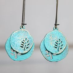 Hey, I found this really awesome Etsy listing at https://www.etsy.com/listing/207352999/turquoise-earrings-leaf-earrings-tree