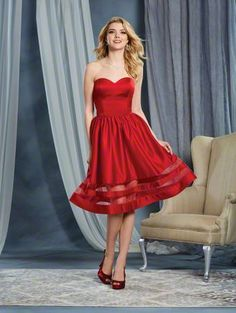 Alfred Angelo Style 7368S: cocktail length short satin bridesmaid dress with sheer organza insets in skirt