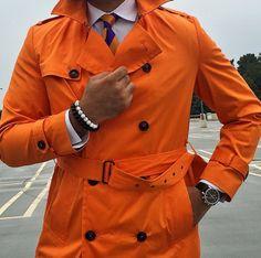Rainy days do not have to be boring. ☔️#orange #trenchcoat #Elegance #Fashion #Menfashion #Menstyle #Luxury #Dapper #Class #Sartorial #Style #Lookcool #Trendy #Bespoke #Dandy #Classy #Awesome #Amazing #Tailoring #Stylishmen #Gentlemanstyle #Gent #Outfit #TimelessElegance #Charming #Apparel #Clothing #Elegant #Instafashion