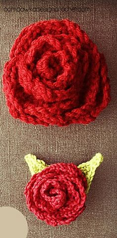 Rose Embellishment with Leaves by Oombawka Design  Published in Oombawka Design by Rhondda Craft Crochet Category Jewelry → Brooch Applique / Embellishment Published October 2013 Suggested yarn Red Heart Super Saver Solids Schachenmayr SMC Catania Solids Yarn weight Sport / 5 ply (12 wpi)  Hook size 2.5 mm 4.0 mm (G)