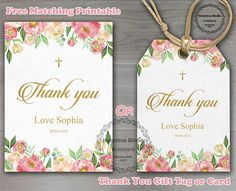Floral Pink Baptism Invite, Floral Baptism Invitation, Girl Christening Invitation, Naming Day Invite, Free Floral Favor Tags or card
