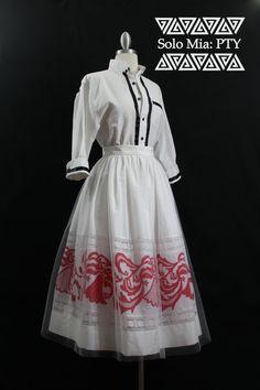CARMEN Tea Length White and Red Pollera Print Skirt by Mia2315