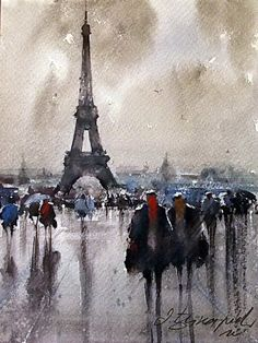 Dusan Djukaric: Rainy day in Paris. Lovely water colour effect to achieve in a photo if poss with post processing and/or painting app. Watercolor City, Watercolor Drawing, Watercolor Landscape, Watercolor Paintings, Watercolors, Watercolor Projects, Paris Kunst, Paris Art, Maurice Utrillo