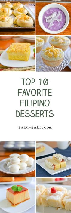 There are so many Filipino desserts and I love eating just about all of them. In this post, I share my top 10 favorite Filipino desserts that I have made. Filipino Dishes, Filipino Desserts, Filipino Recipes, Asian Recipes, Filipino Food, Ube Recipes, Pinoy Recipe, Recipies, Philipinische Desserts