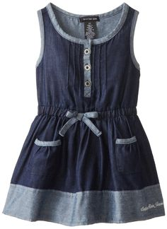 Calvin Klein Little Girls' Blue Denim Dress with Pockets On Skirt, Blue, 4T