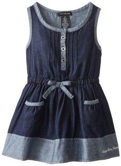 Calvin Klein Little Girls' Blue Denim Dress with Pockets On Skirt, Blue, 4T